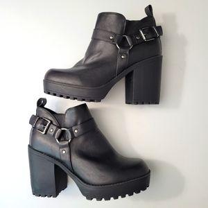 Torrid Black Faux Leather Lug Wide Width Booties